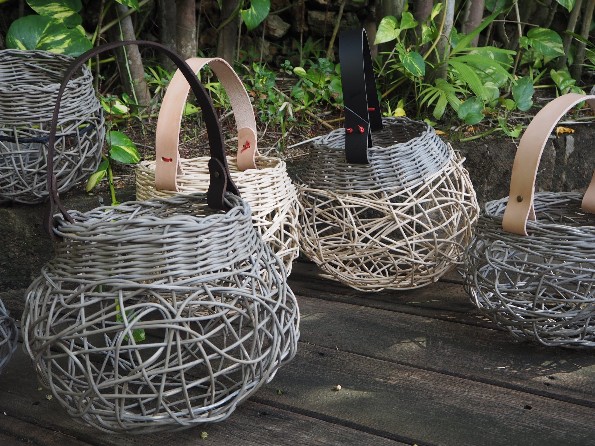 Weaving Woven Basket with Leather Handle - VIC Tourism